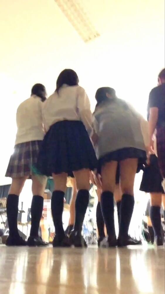 バンドを見てる制服JKたちの後ろ姿の画像