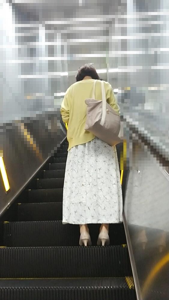 エスカレーターに乗る女性を背後から映した画像