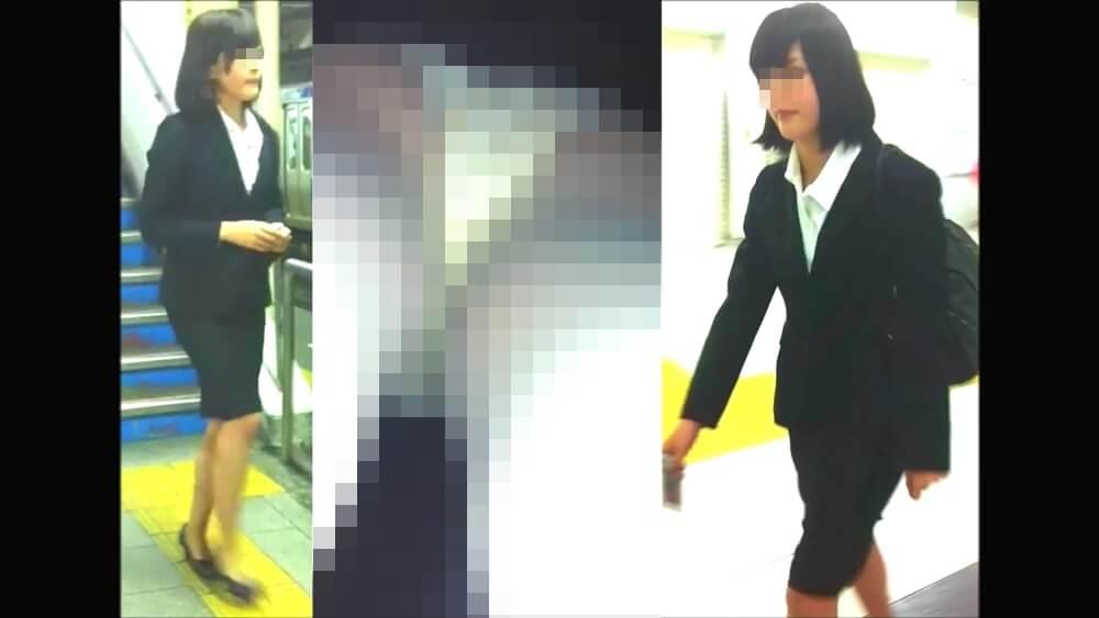 ハロゲンさんに逆さ撮りされるリクスー女性の姿を映した画像