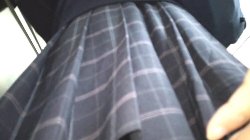 JKの制服のスカートを背後から接写した画像